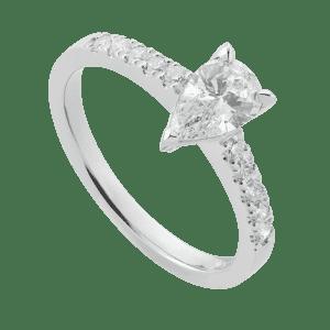 Petite Platinum Pear Solitaire Ring