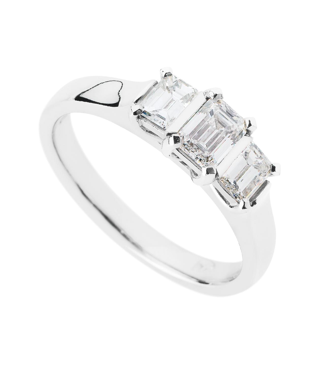 Upswept Three Stone Emerald Ring Filigree Jewellery Christchurch New Zealand
