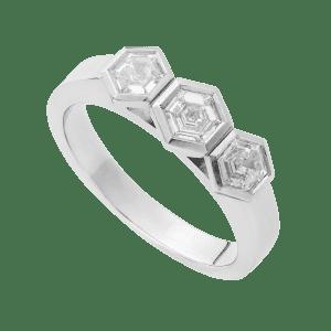 Three Stone Hexagonal Ring