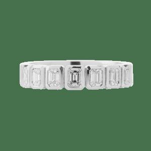 Emerald Cut Diamond Rub Set Band