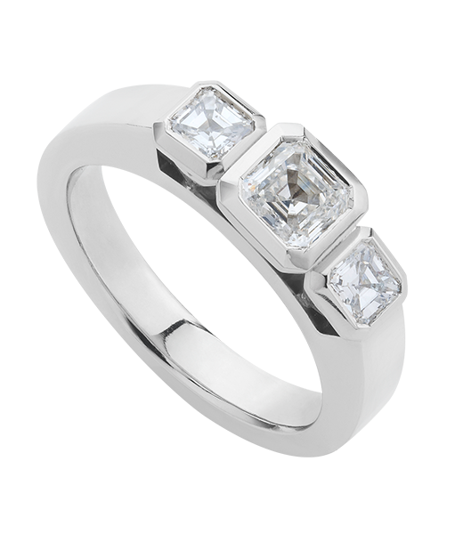Assher diamonds three stone ring