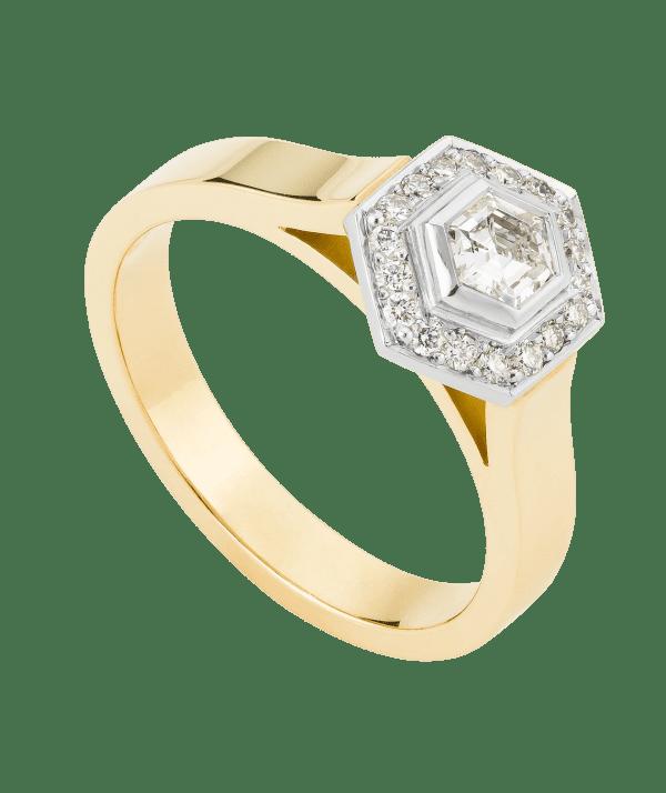 hexagonal diamond ring