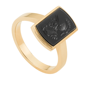 Antique Long Cushion Intaglio Ring in 9ct Yellow Gold.