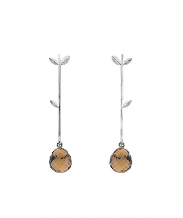 Twiggy Stud Earring with Briolette Smokey Quartz