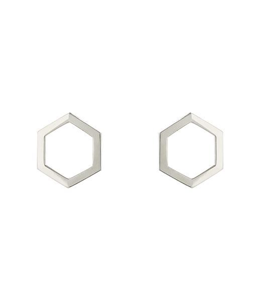 Shard Hexagonal Polished Silver Studs